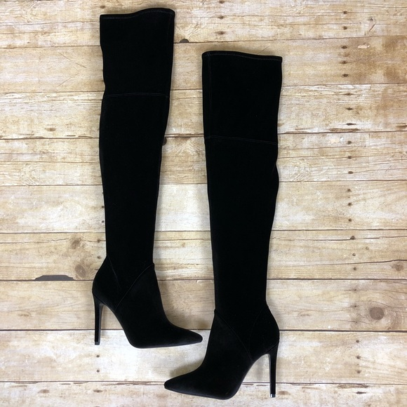 db38ae269e4 Kendall   Kylie Shoes - Kendall + Kylie Black Ayla Velvet Thigh High Boots